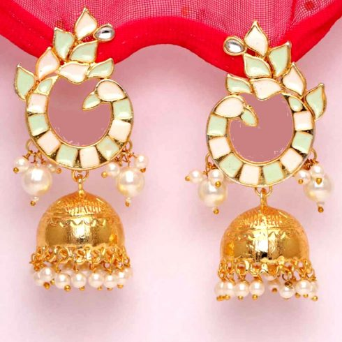 White Color Beads Antique Meena Earrings