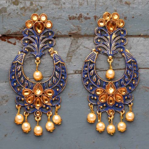 Glass Stone Antique Mint Meena Earrings