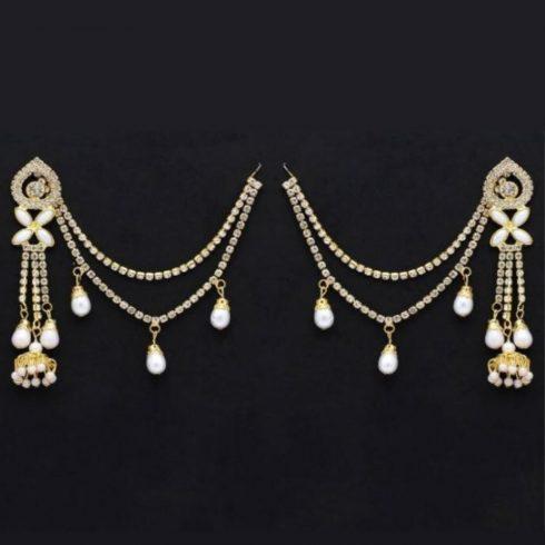 White Color Rhinestone Earrings