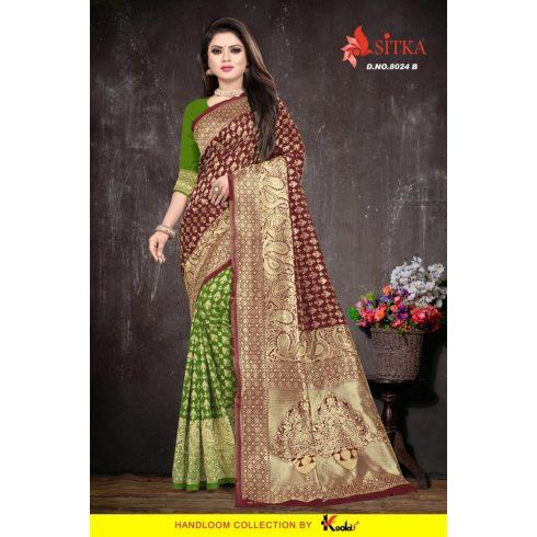 2 Color Handloom saree - Green/Maroon