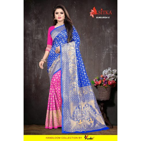 2 Color Handloom saree - Pink/Blue