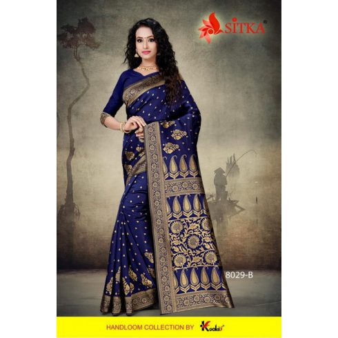Handloom saree - Dark Blue