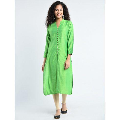 Green Button Down Silk Kurti