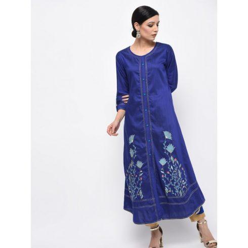 Flower Emroidery Blue Silk Kurti