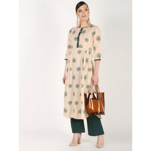 Off White Leaf Print Long Kurti