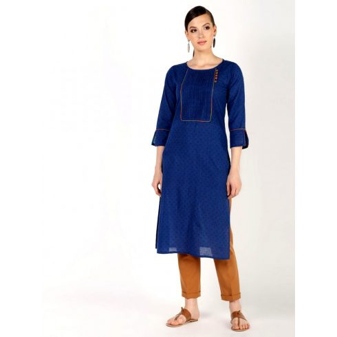 Orange Detailed Blue Long Kurti