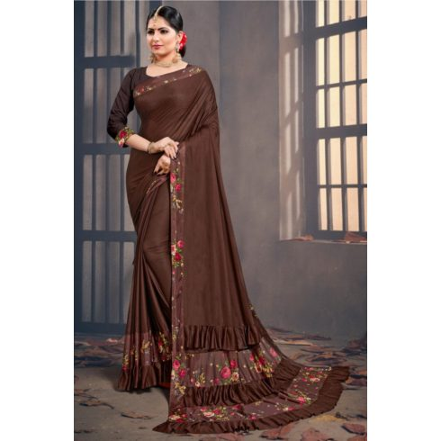 Flower Ruffle Bollywood Saree Brown