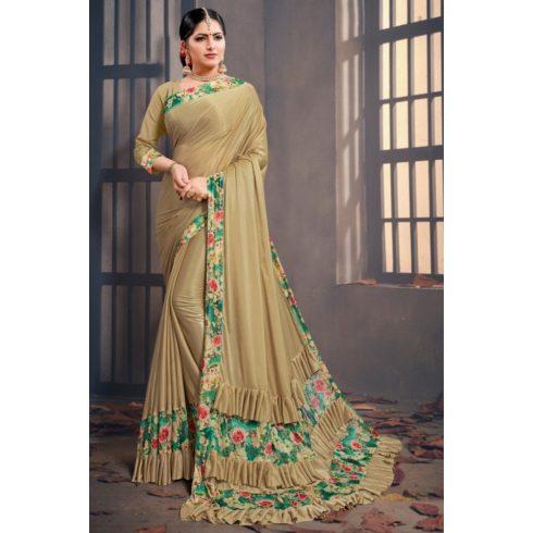 Flower Ruffle Bollywood Saree Beige