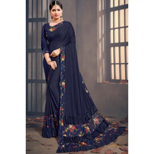 Flower Ruffle Bollywood Saree Blue