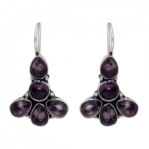 Oxidized Earrings with purple stones