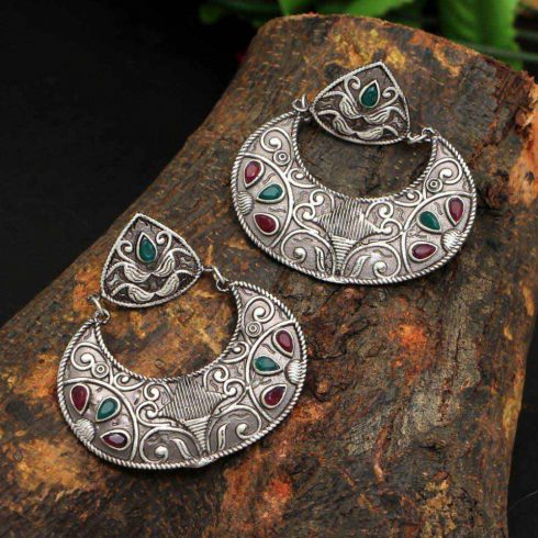 Maroon & Green Oxidized Earrings