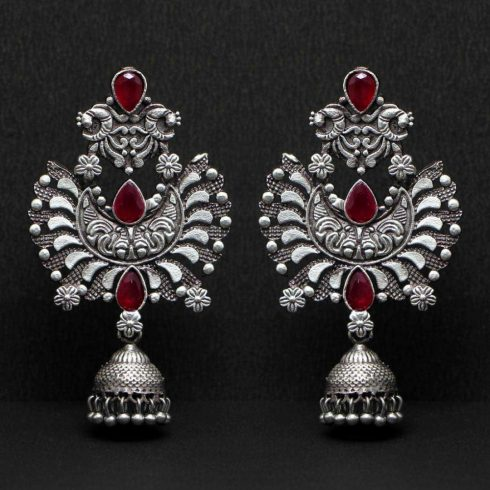 Maroon  Oxidized Jhumki Earrings