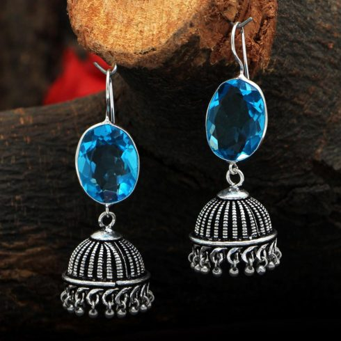 Blue Oxidized Jhumki Earrings