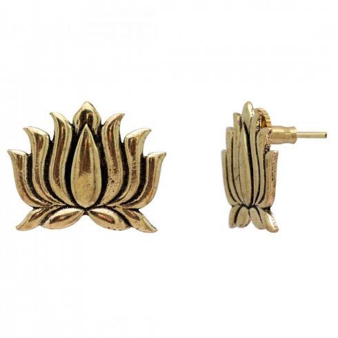 Plated Brass Gold Lotus Earrings