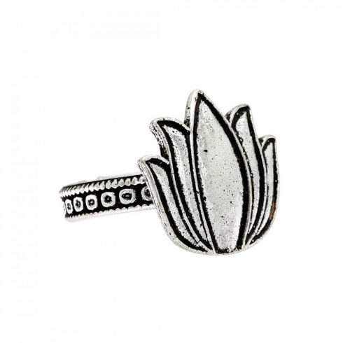 Silver Color Lotus Design Oxidised Traditional Ring