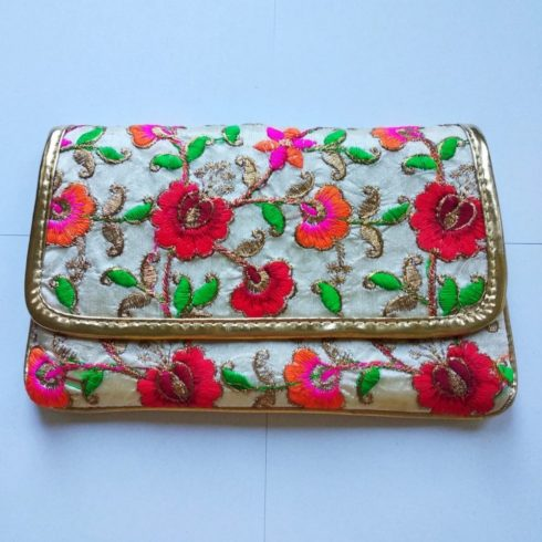 Red Flower Embroidery Hand Bag