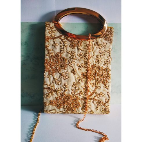 Gold Handle Hand Bag