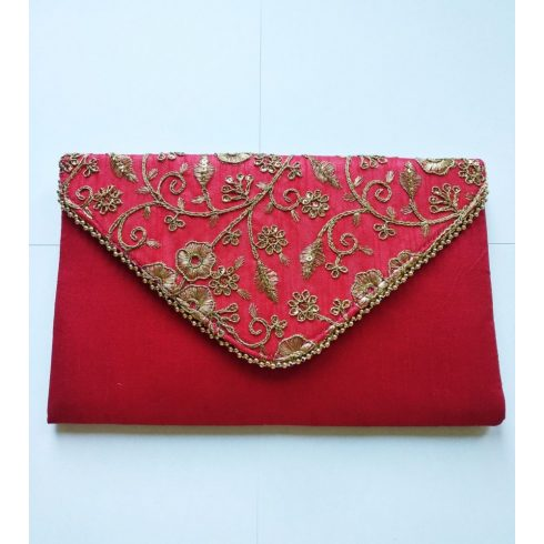 Gold Flower Red Hand Bag
