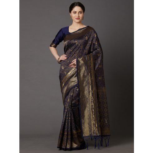 Handloom saree - Dark Blue, Gold
