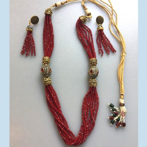 Red Necklace and Earrings Set with Beads