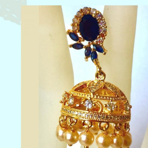 Jhumki with Dark blue stones