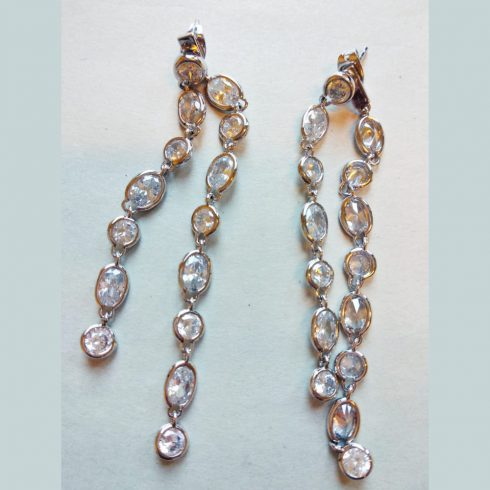 2 String Silver Color Earrings