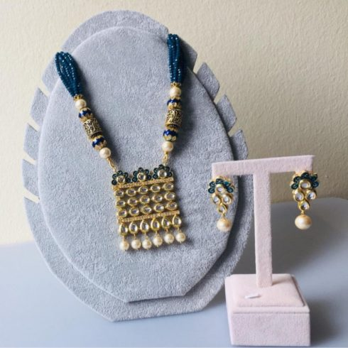 Blue Kundan Style Necklace and Earrings Set