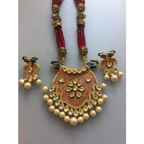 Elephant Kundan Style Necklace and earrings Set