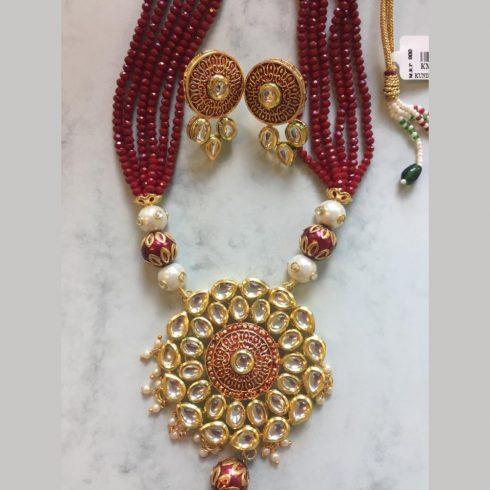 Red Kundan Style Necklace Earrings Set