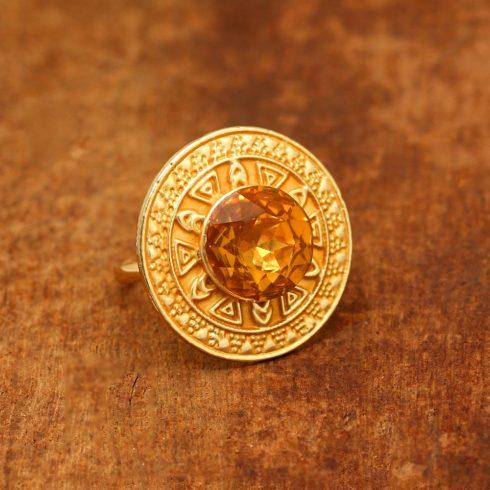 Gold Meenakari Round Shape Ring