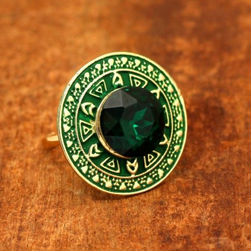 Zöld kör alakú meenakari gyűrű
