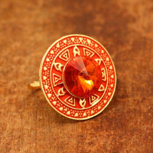 Orange Meenakari Round Shape Ring