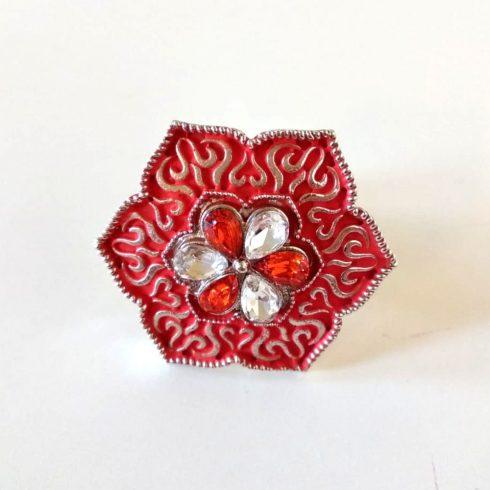 Orange Glass Stone Traditional Meena Ring