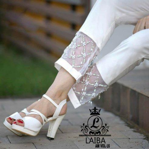 White Laiba Cigarette Pants