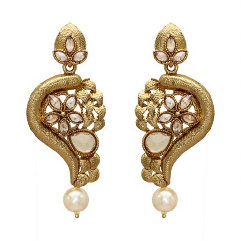 White Color Traditional Earrings