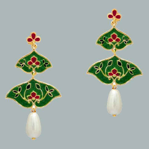 Imitation Pearl Meenakari Earrings