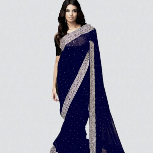 Designer Net Saree Blue