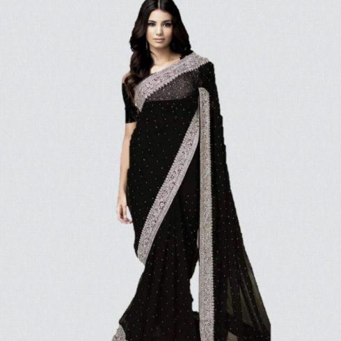 Designer Net Saree Black