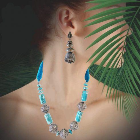 Blue Thread Silver Necklace set
