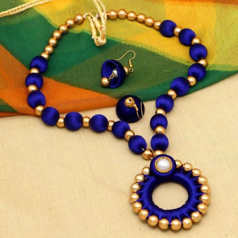 Blue Thread Necklace Earrings Set