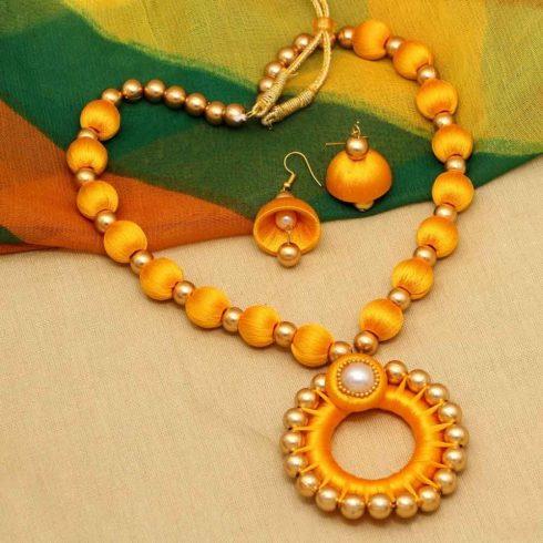 Yellow Thread Necklace Earrings Set
