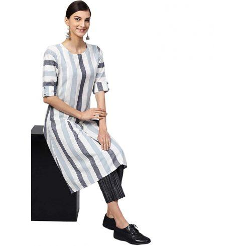 Grey Color Stripe Long Kurti