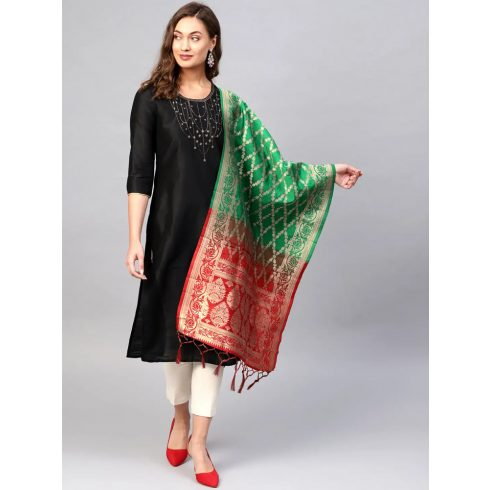 2 Color  Banarasi Dupatta - Green / Red