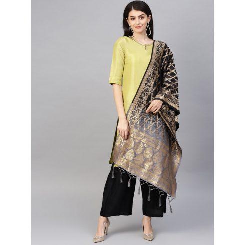 2 Color  Banarasi Dupatta - Black / Gray