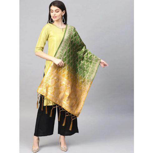 2 Color  Banarasi Dupatta - Green / Yellow